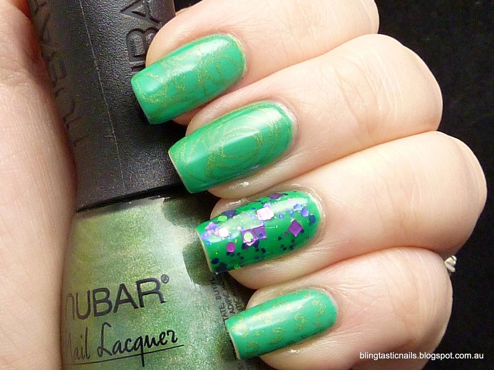 Jass Blingtastic Nails China Glaze Four Leaf Clover With Nail Art