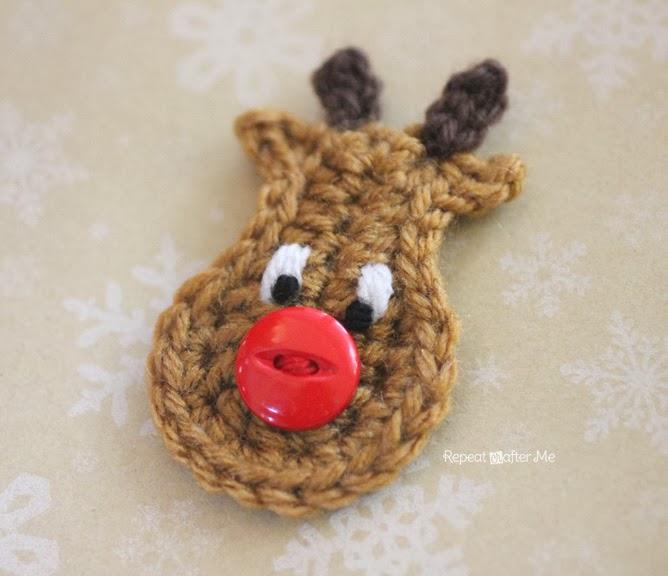 Free Crochet Reindeer Ornament Patterns : Repeat Crafter Me: Crochet Reindeer Applique Pattern