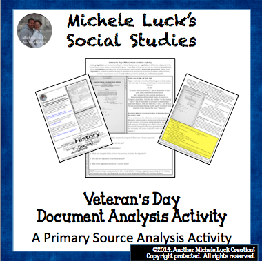 http://www.teacherspayteachers.com/Product/Veterans-Day-Document-Analysis-Activity-Homework-1443782
