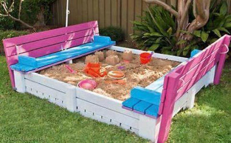 Creative Ideas DIY Project Sandpit With Cover Made