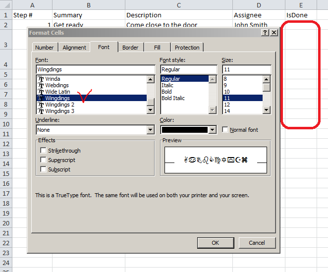 Inserting checkboxes into excel checklist
