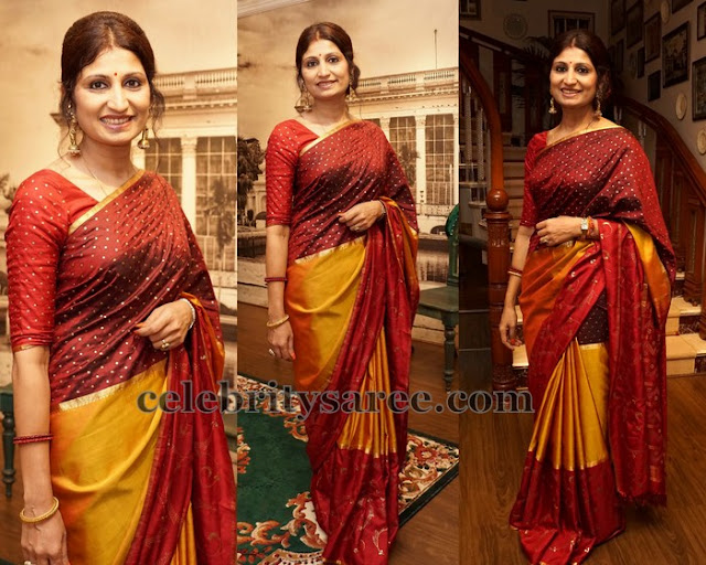 Maroon and Mustard Bandhini Saree