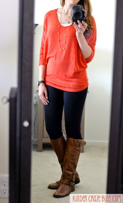 gorgeous orange dolman sleeve sweater from Stitch Fix dressed up with leggings, boots, and gold necklaces