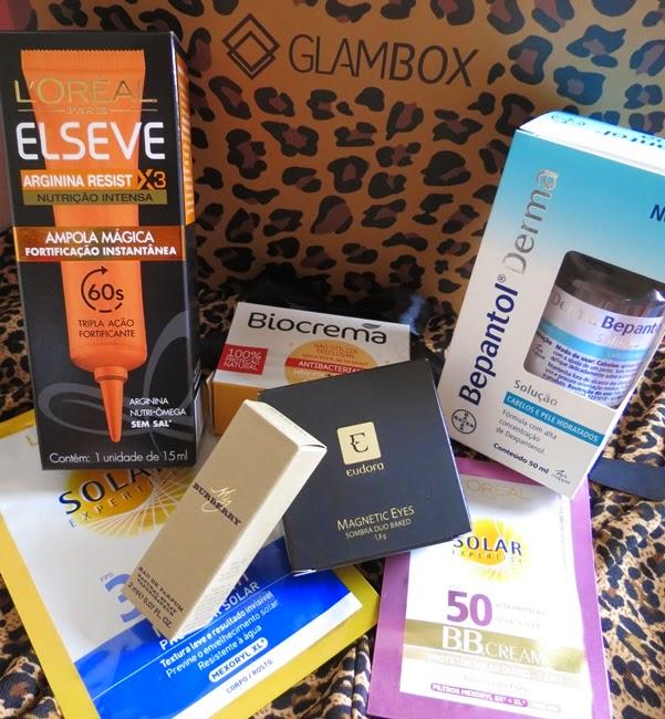 Glambox, Bepantol Derma, Elseve, Loreal, Eudora, Biocrema, Perfume, Sombras, Resenha, Oncinha, Protetor Solar, BBCream, Ampolas, Cabelo,