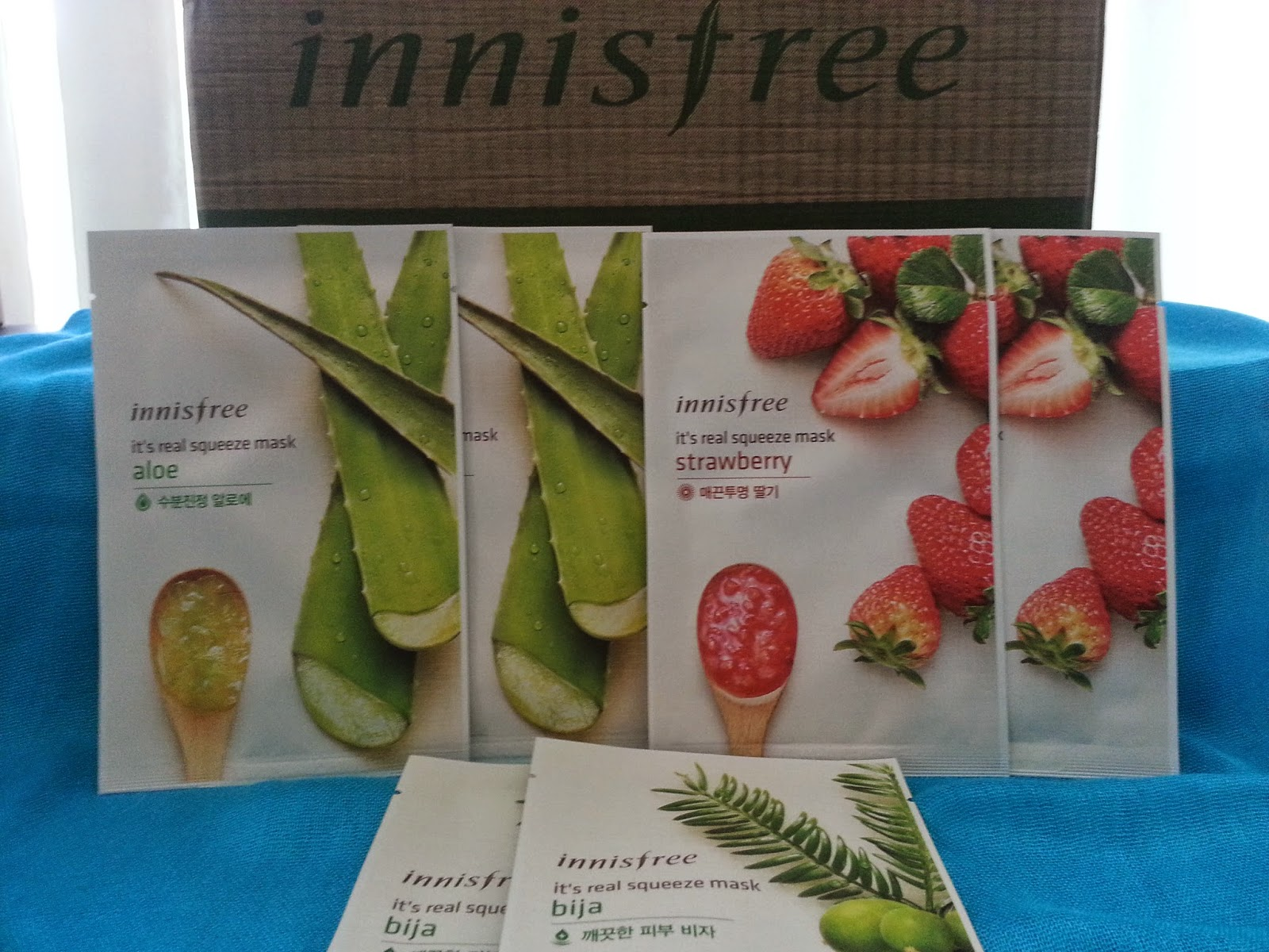 Aloe, Strawberry, Bija sheet masks