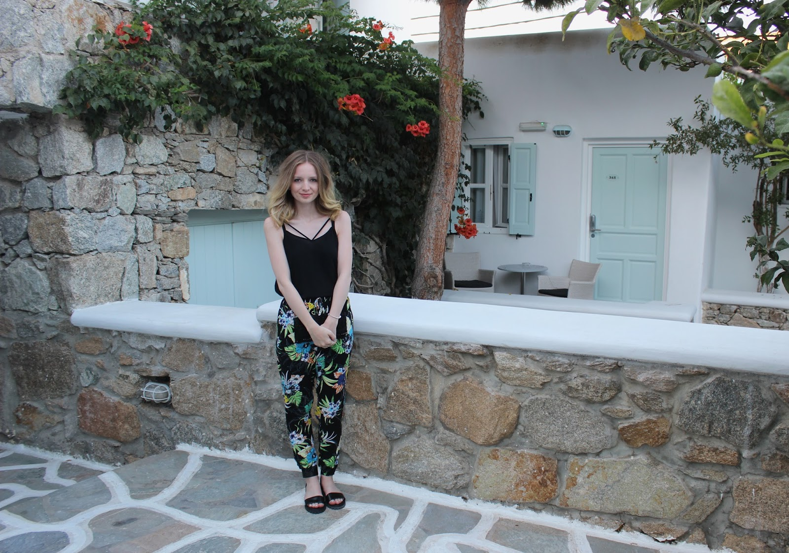 Wearing Miss Selfridge Tropical Trousers, ASOS Sandals and River Island Cami, Accessorize Clutch