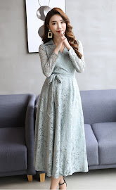 2018 Long Sleeve Light Blue Flare Lace Dress