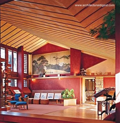 Interior de la residencia Taliesin House - Fotograf  237 a de Jon Miller    Taliesin Spring Green Wi Interior