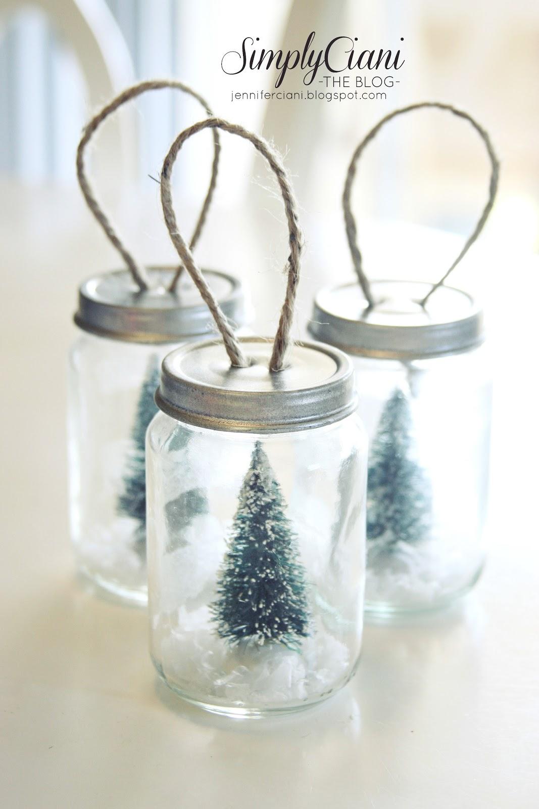 Mason jar ornaments - Adorable Little Mason Jar Snow Globe Ornaments