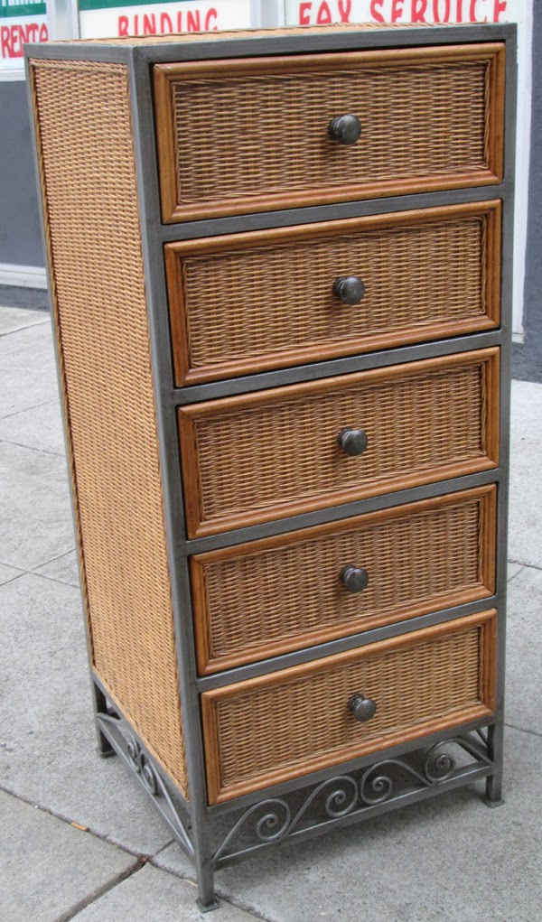 uhuru furniture collectibles sold lingerie chest of drawers wicker and metal 125. Black Bedroom Furniture Sets. Home Design Ideas