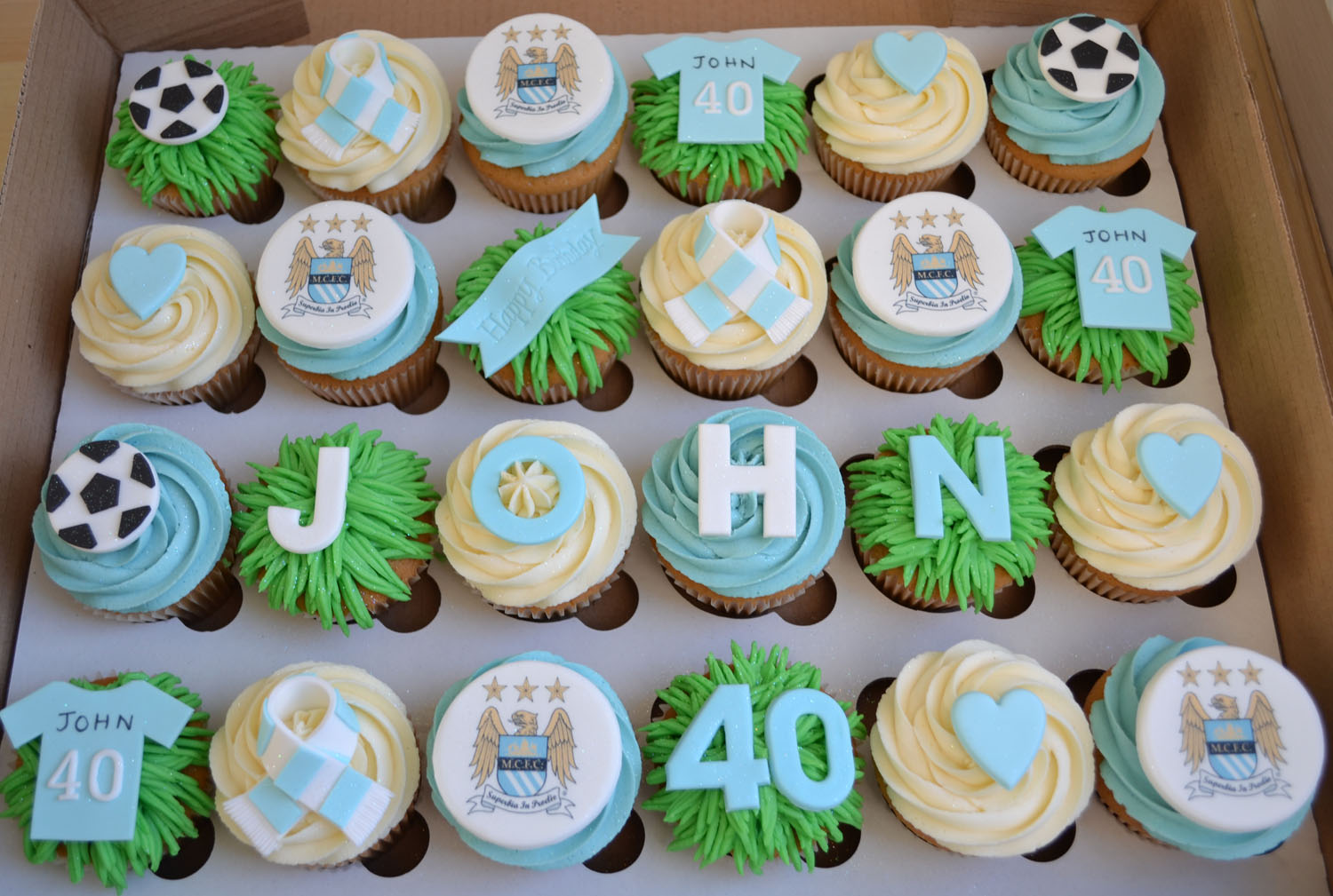 Cupcake Design For Man : Little Paper Cakes: John s MCFC 40th Birthday Cupcakes