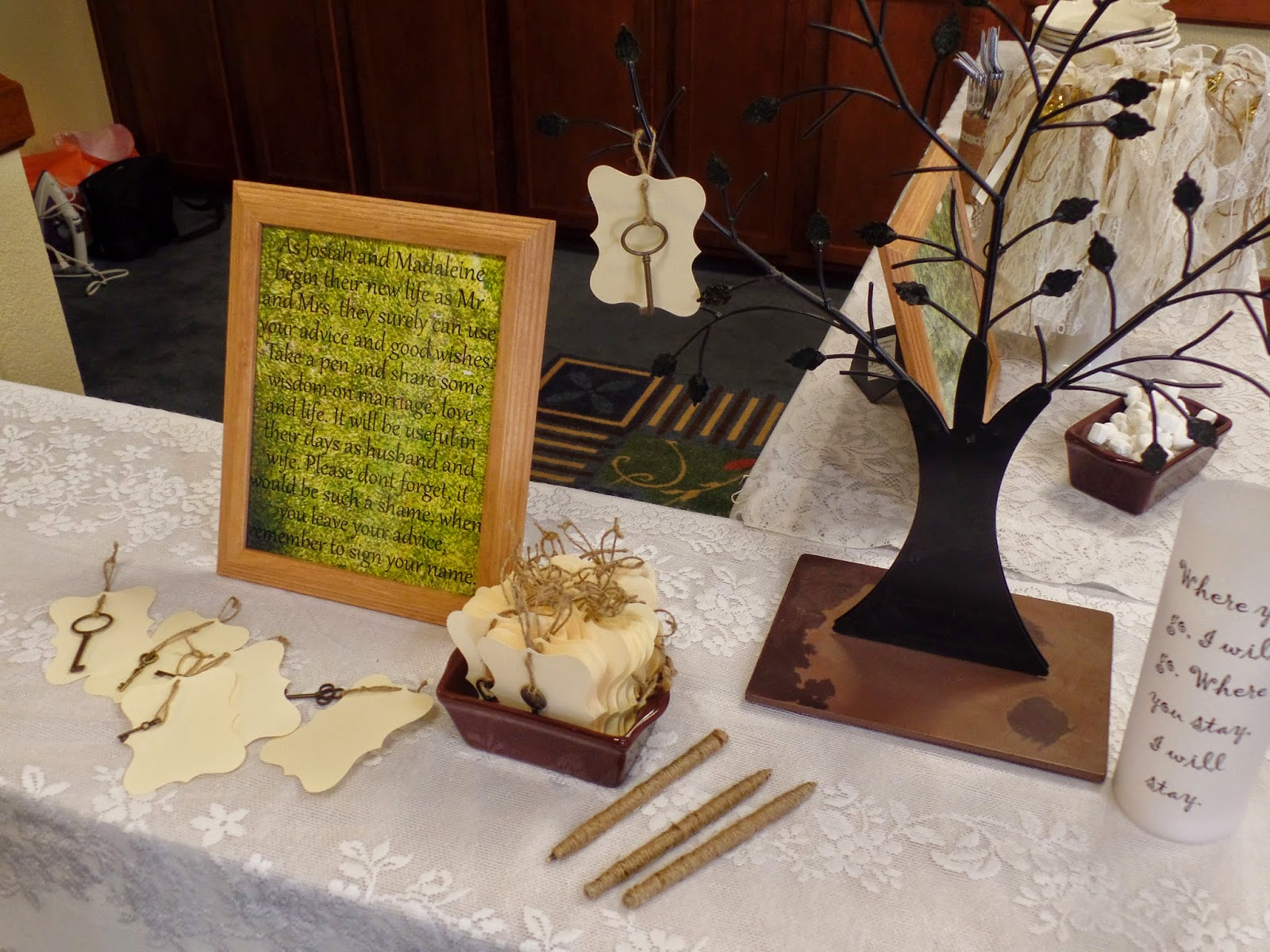 woodsy wedding key tree for marriage advice