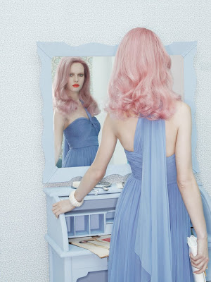 woman looking into mirror, pink hair, fashion and beauty photographer nyc, ania kisiel model