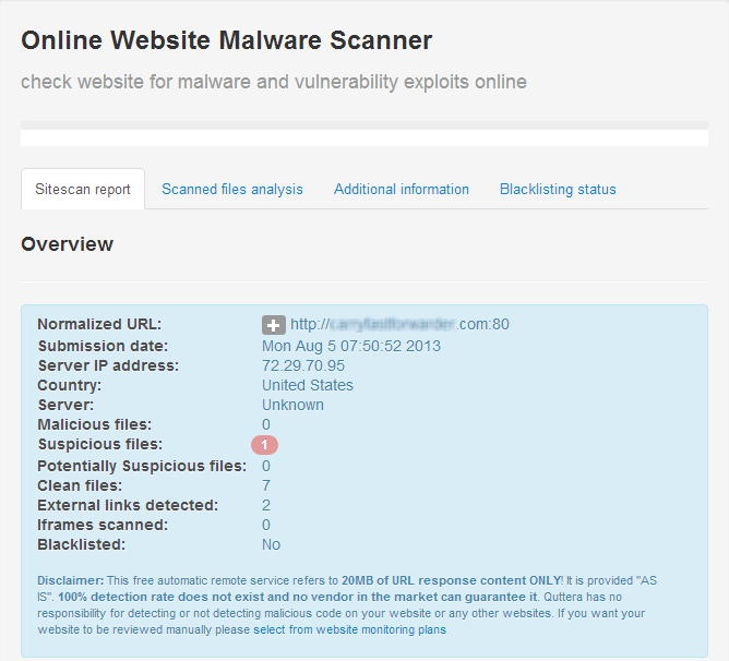 Quttera online website malware scanning report