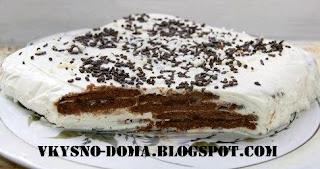 Творожно-сметанный торт-суфле с печеньем без выпечки