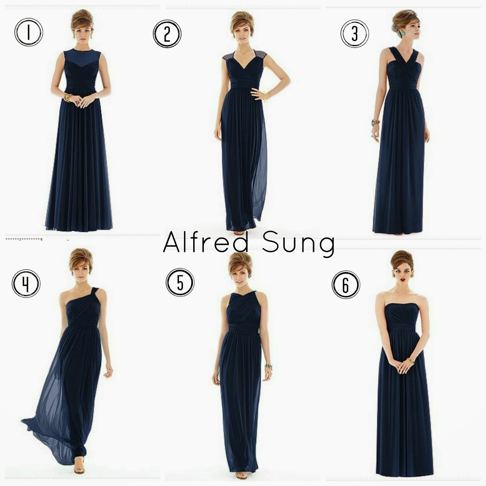 Navy Alfred Sung Bridesmaid Dresses
