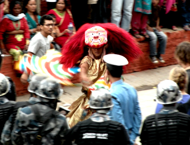 Lakhe dancer performing during Indra Jatra festival in Nepal