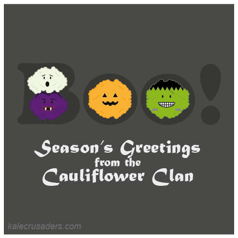 Boo! Seaon's Greetings from the Cauliflower Clan; Purple Cauliflower; Orange Cauliflower; Green Cauliflower; White Cauliflower; Rainbow Cauliflower