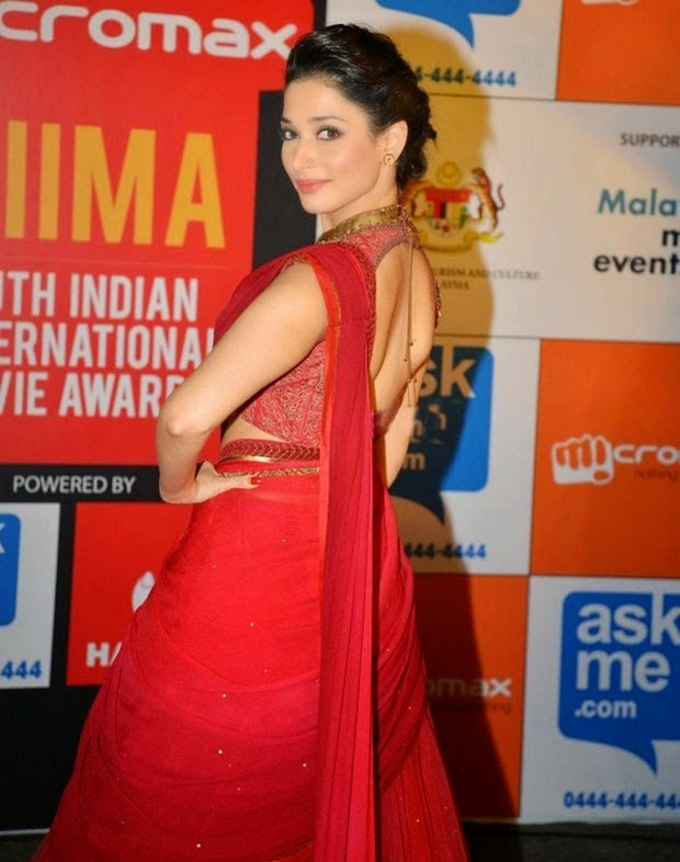 Tamanna In Red Color Saree Wears Latest Stills
