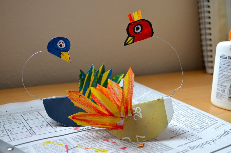 Fine lines calder with 1st graders for How to make a 3d bird sculpture