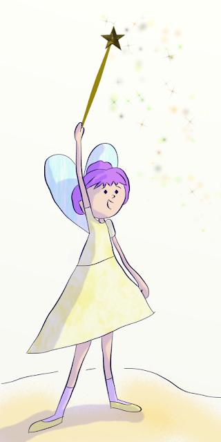 Illustration numérique d'une petite fée réalisée par Florence Gobled, auteur de livres pour enfants et illustrateur jeunesse à Autun en Bourgogne