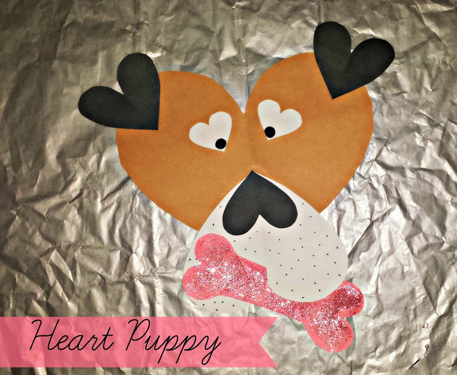 how to make a dog out of paper hearts