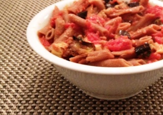 Penne With Tomato Sauce, Eggplant And Smoked Mozzarella