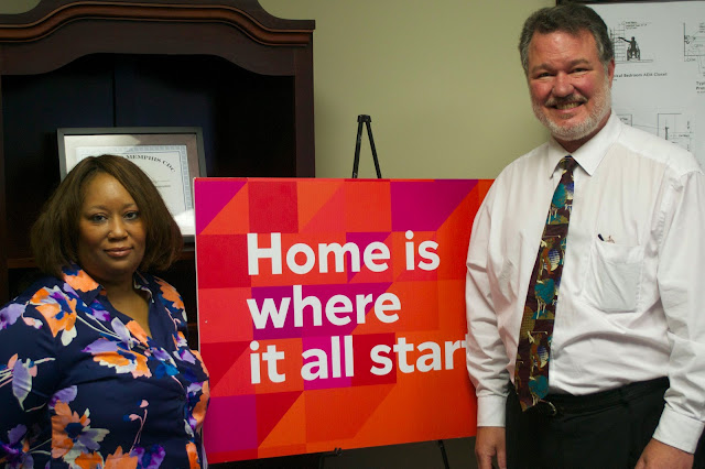 Lisa Brice with Tim Bolding, Executive Director of United Housing