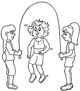 Colorear niñas saltando a la cuerda