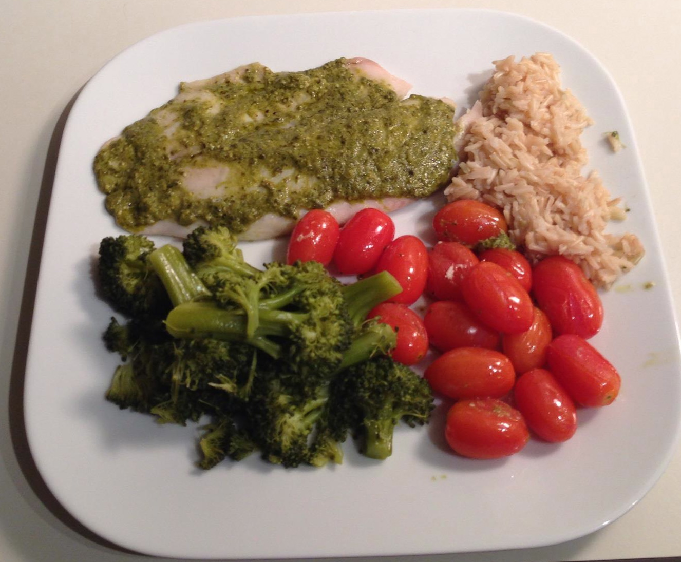 ... What's for Dinner Wednesday: Tilapia with Pesto and Roasted Tomatoes