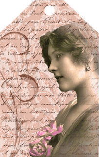 tag de scrapbooking imprimible para San Valentin de color claro con flores y letras