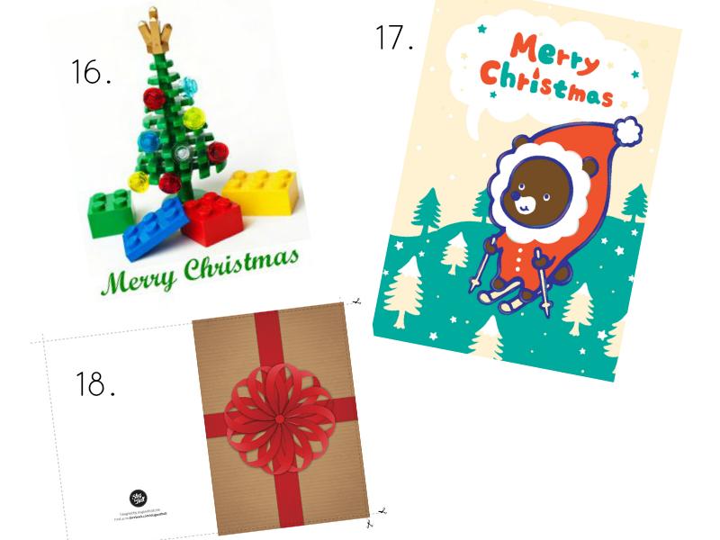 Christmas Card // 17. Teddy Bear Christmas card // 18. Free Printable ...