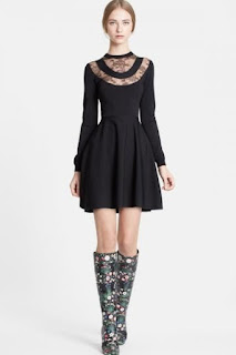 Valentino Chantilly Lace Detail Knit Long Sleeve Dress