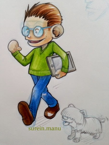geek boy et tablette - copics