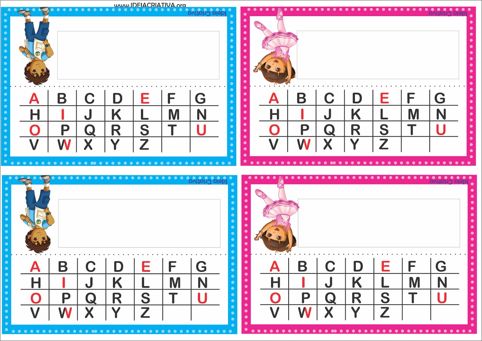 Crachá de Mesa Dora Aventureira e Diego com alfabeto para imprimir