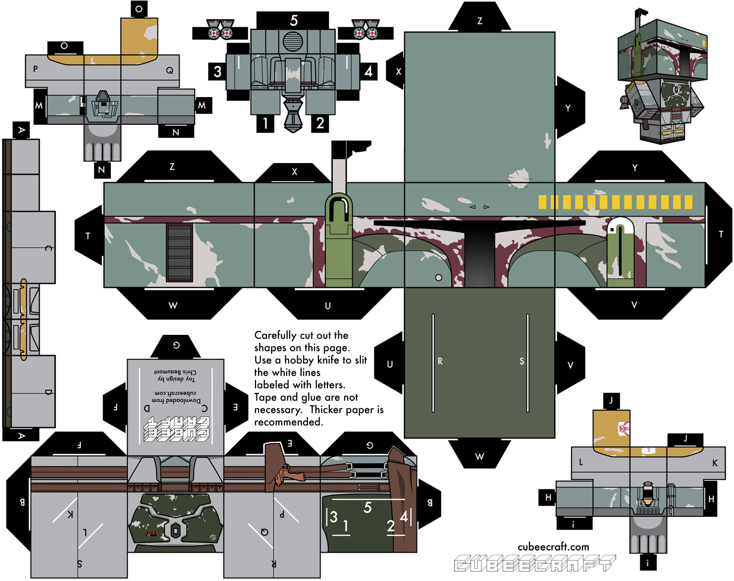 paper shock boba fett star wars by cubeecraft. Black Bedroom Furniture Sets. Home Design Ideas