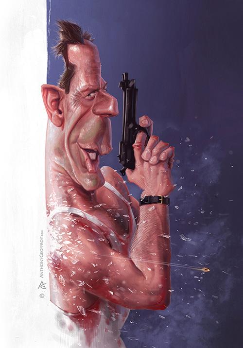 "Caricatura de ""Bruce Willis"" por Anthony Geoffroy"