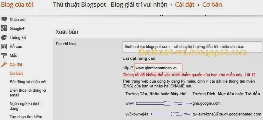 Cài đặt tên miền riêng cho blogspot với Domain .VN