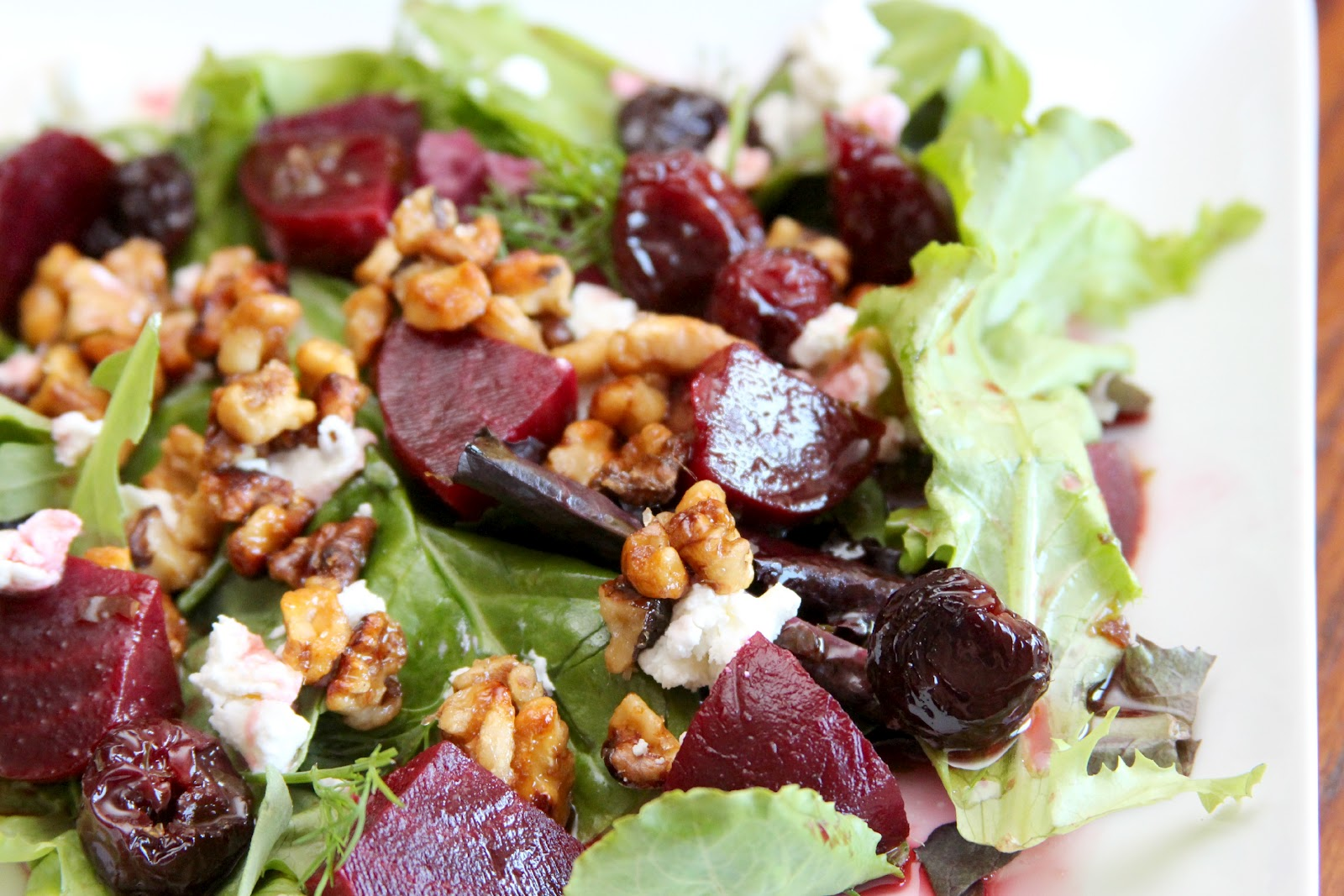 gingersnaps: roasted beet, goat cheese & candied pecan salad with ...