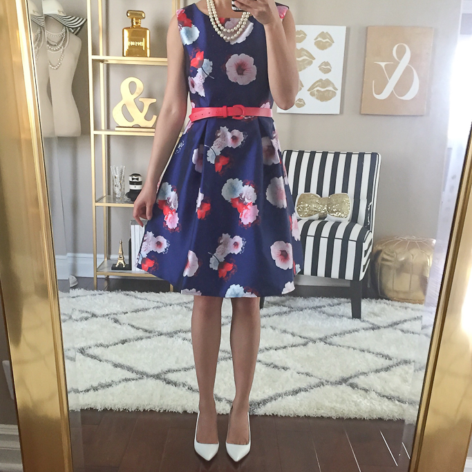 Blue Sleeveless Floral Belt Flare Dress, Manolo Blahnik BB white pumps, Summer Work Outfits, Two strand pearl necklace