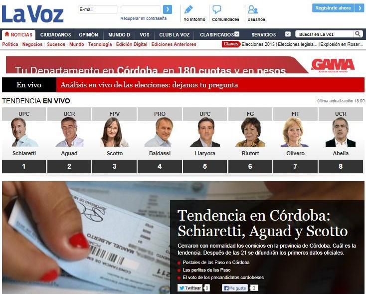 De elecciones capturas de im genes de los diarios luego de las 18 horas - La voz del interior ...