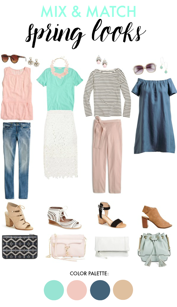 Mix and Match Outfit Inspiration for Spring | muted pastels, chambray & stripes