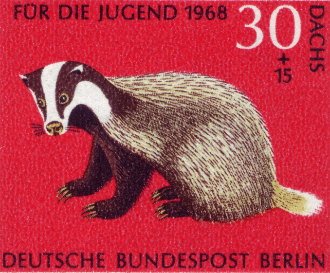 A German stamp with a badger on it