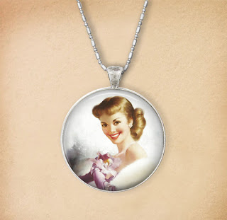 Digital Photo template for necklace on vintage background