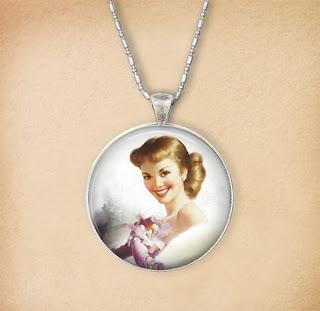 Digital Photo template for necklace on vintage background