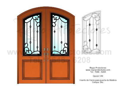 Inserto de Hierro Forjado para puerta de Madera, Diseño Opción VIII