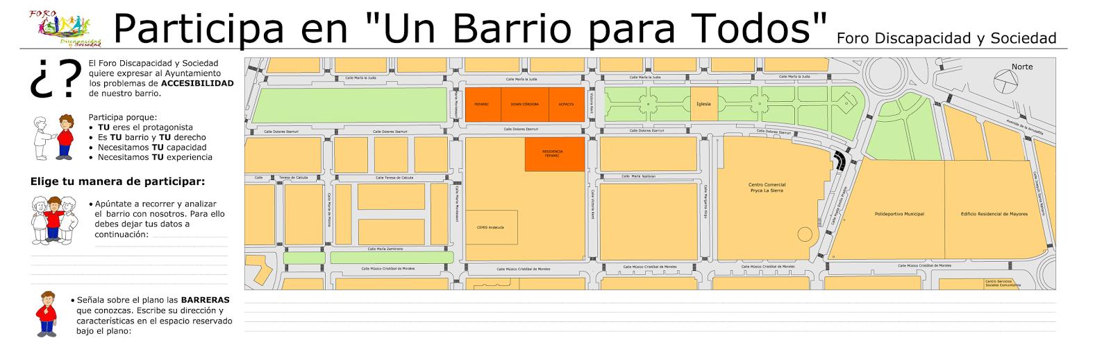 Plano de la zona de actuación del proyecto del Distrito Noroeste junto con texto explicativo del proyecto que solicita la participación