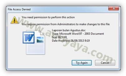 Gambar: Contoh pesan kegagalan penghapusan file di microsoft windows