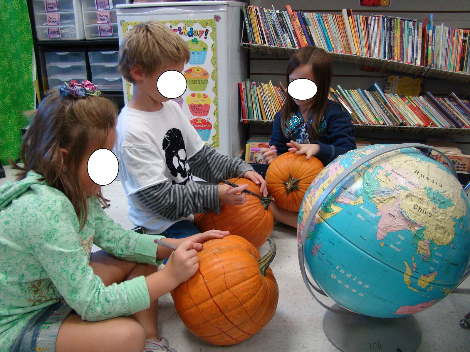 3 teacher chicks pumpkin globes the first continent they must draw is africa the armpit part of africa fits perfectly right above where the equator and prime meridian meet sciox Choice Image