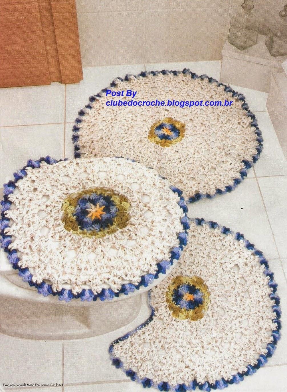 Jogo Banheiro Azul Croche : Clube do croch? jogo de banheiro flor azul com gr?fico